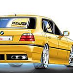 Audiopipe digital illustration of the back of a BMW