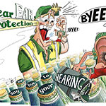 Carlsberg ear protection health and safety poster