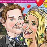 Digital caricature artwork. Magazine style cover for a wedding gift