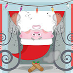 Digital Christmas card illustration of Father Christmas