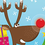 Digital Christmas card illustration of a reindeer