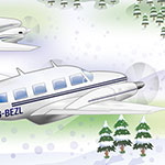 Sywell Aerodrome caricature Christmas card watercolour painting