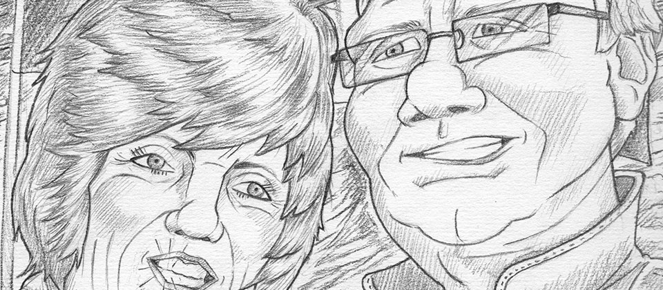 A4 pencil caricature drawing